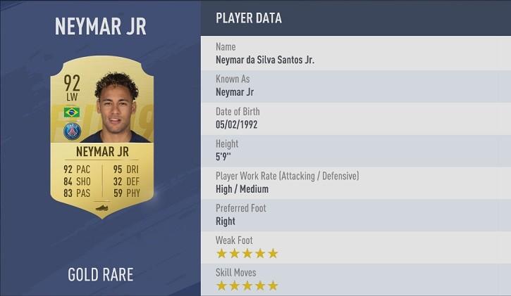 FIFA 19 en iyi kanat oyuncusu Neymar fifa 19